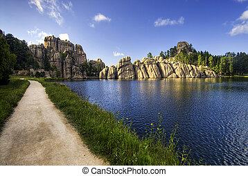 A burst of sunlight, Sylvan Lake, Black Hills national forest, South Dakota, USA