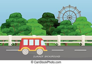 A bus on Highway road. Summer background Vector