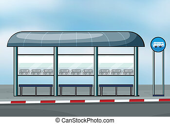 A bus stop - Illustration of a bus stop on a road