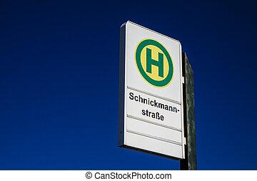 a, bushaltestelle, zeichen, auf, a, zahnfüllung, place.