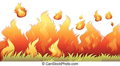 A bushfire flame on white background