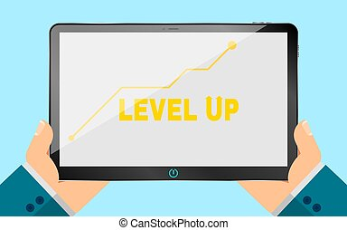 A business man is holding an electronic tablet. new technologies. Illustration in a flat style. Eps 10. Analytical scale of increase. Business level