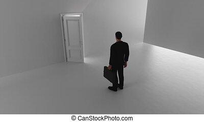 A business man walks through a shine door in a bright room