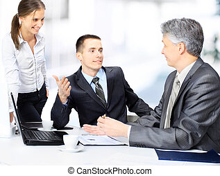 business team sitting in office and planning work