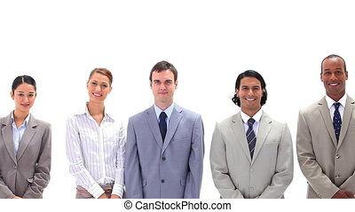 A business team standing side by side