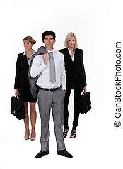 A business team.