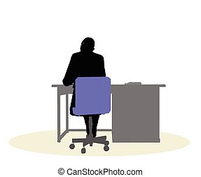 a business woman sitting at a desk - EPS 10 vector...