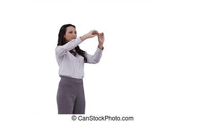 A business woman using a virtual interface