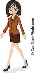 A business woman walking