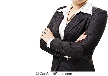a business woman with hands folded