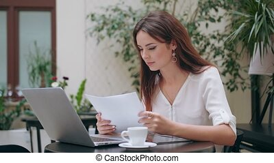 A Businesslady Working in the Room