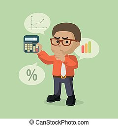 A businessman being Counting percentage vector illustration...