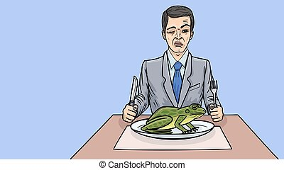 Eating a frog is a metaphor for starting your working day by doing unpleasant things.