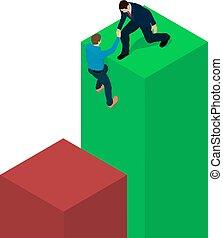 A businessman helps a man scramble to a diagram.