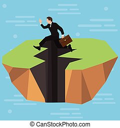 A businessman high-jumps over a long jagged earthquake rift in the ground. Business and competitions. Personal growth. Overcome difficulties.