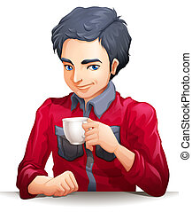 A businessman holding a cup of coff