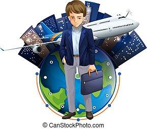 A Businessman illustration with buidings - A Businessman...