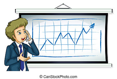 A businessman in front of the board with a chart