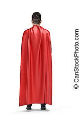 A businessman in shimmering scarlet cape turned back on...