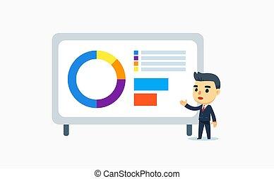 a businessman is doing a presentation. vector illustration