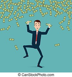 A businessman jumps and dances with joy in the rain of money. Money is crumpled in the hands