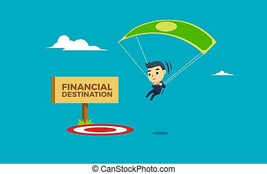 a businessman landing on the spot using parachute. vector illustration