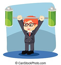 a businessman lifting batteries