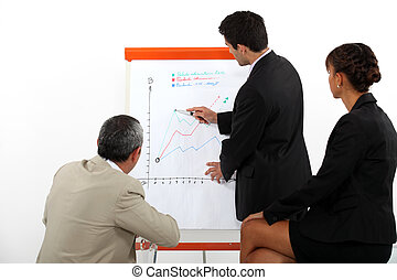 A businessman making a presentation to his coworkers.