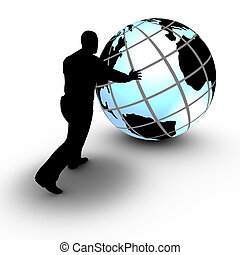 This concept illustration shows a businessman that manages a world wide project by rolling the globe. The project advances and is under control.