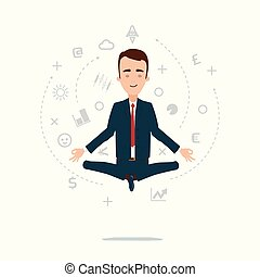 A businessman meditates in a lotus pose. A cloud of thoughts and ideas