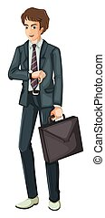 A Businessman on White Background