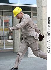 A businessman panic running