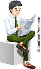 A businessman reading a newspaper - Illustration of a...