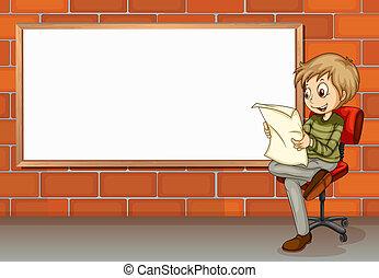 A businessman reading beside the empty board