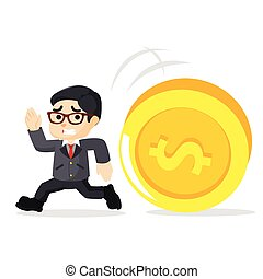 a businessman running in the chase