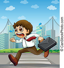 A businessman running with a case in his hand