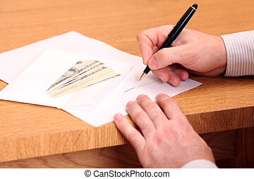 A businessman signing a contract and getting money for it