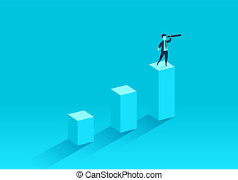 A businessman standing on a financial chart looks ahead in a telescope. Leader, winner and concept of success.