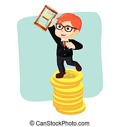 a businessman standing on coin hold