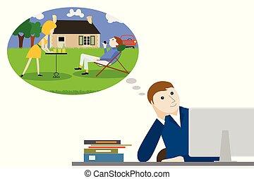 businessman thinking of retirement
