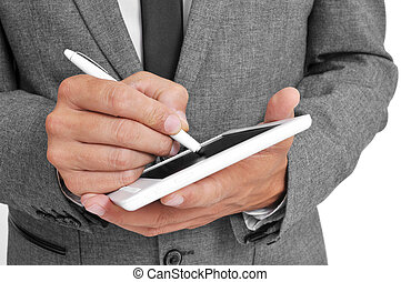 businessman using a stylus pen in his tablet - a businessman...