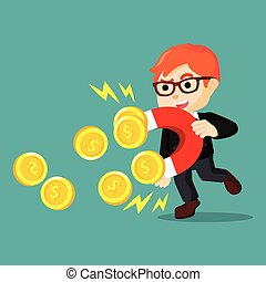 a businessman was Magneting coins