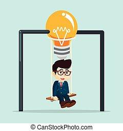 A businessman was swinging bulb