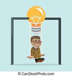 A businessman was swinging lightbulb