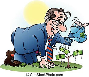 A businessman watering a money tree - Vector cartoon...