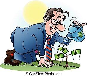 Vector cartoon illustration of a businessman watering a money tree