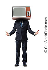 A businessman wearing an old TV on his head has his arms turned up in inviting gesture.