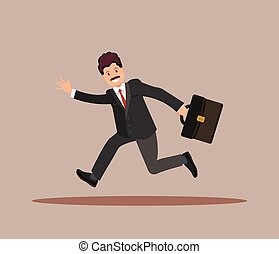 A businessman with a briefcase in his hand is late for work.