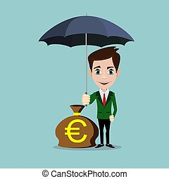 A businessman with beard standing holding umbrella protecting his money