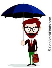A businessman with beard standing holding umbrella